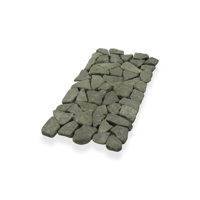 Border Interlock 6 x 11 3/4 Natural Stone Pebbles/Rocks Tile in Gray/Black
