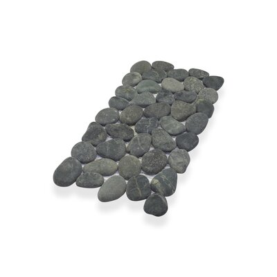 Border Interlock Medan 6 x 11 3/4 Natural Stone Pebbles/Rocks Tile in Black