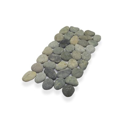 Border Interlock 6 x 11 3/4 Natural Stone Pebbles/Rocks Tile in Gray