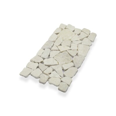 Border Interlock Quartz 6 x 11 3/4 Natural Stone Pebbles/Rocks Tile in White