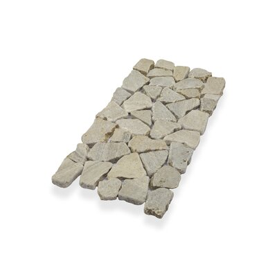 Border Interlock 6 x 11 3/4 Natural Stone Pebbles/Rocks Tile in Tan