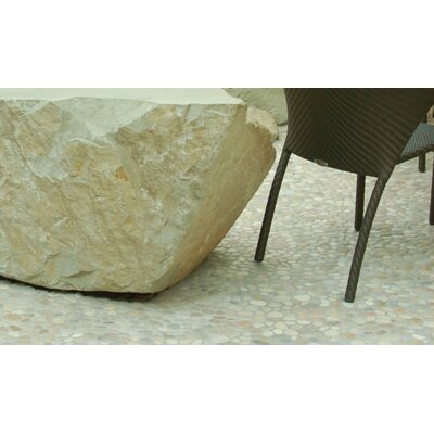 11.75 x 11.75 Natural Stone Pebbles Tile in Light Tan