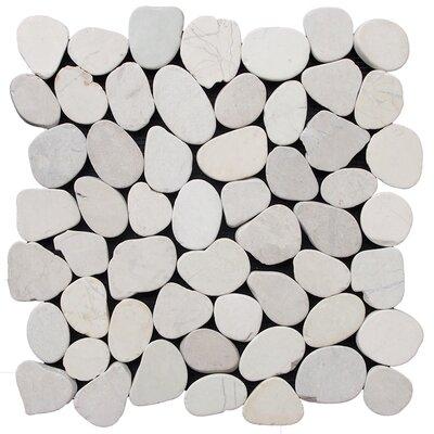 Sliced Pebble Random Sized Natural Stone Pebble Tile in White