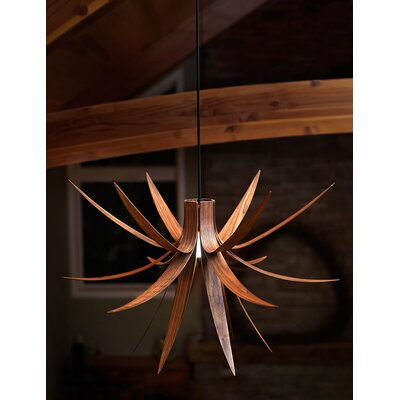Iris 1-Light Pendant Finish: Walnut, Size: Large