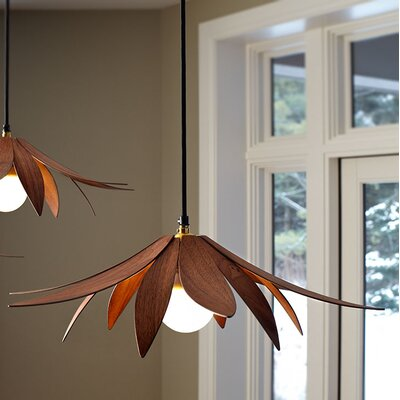 Lotus 1-Light Pendant Finish: Walnut, Size: Small