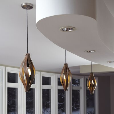 Cocoon 1-Light Pendant Finish: Walnut, Size: Small