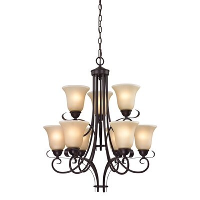 Brighton 9-Light Shaded Chandelier Finish/Glass Color: Oil Rubbed Bronze/Light Amber