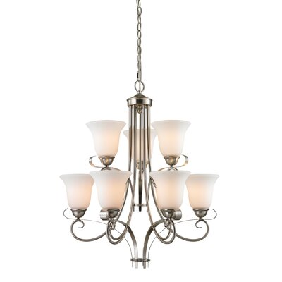 Brighton 9-Light Shaded Chandelier Finish/Glass Color: Brushed Nickel/White