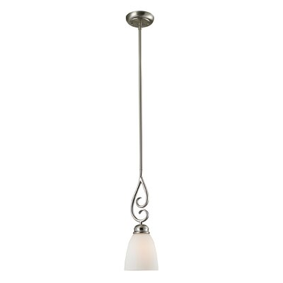 Chatham 1-Light Mini Pendant Finish/Glass Color: Brushed Nickle/White