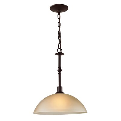 Freda 1-Light Inverted Pendant Finish/Glass Finish: Oil Rubbed Bronze/Light Amber