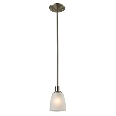 Jackson 1-Light Mini Pendant Finish/Glass Color: Brushed Nickle/White