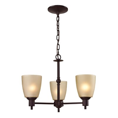 Jackson 3-Light Shaded Chandelier Finish/Glass Color: Oil Rubbed Bronze/Light Amber