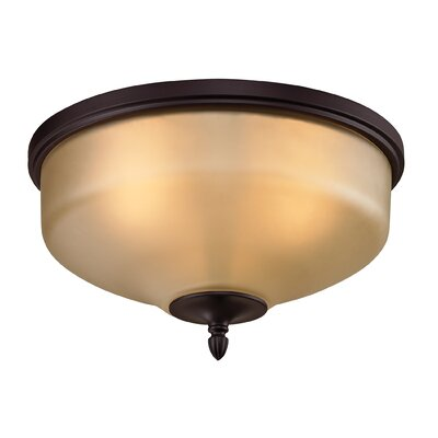Freda 2-Light Flush Mount Finish/Glass Finish: Oil Rubbed Bronze/Light Amber