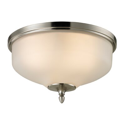 Jackson 2-Light Flush Mount Finish/Glass Color: Brushed Nickel/White