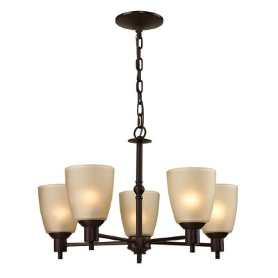 Freda 5-Light Shaded Chandelier Finish/Glass Finish/Size: Oil Rubbed Bronze/Light Amber/13 H x 22 W
