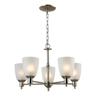 Jackson 5-Light Shaded Chandelier Finish/Glass Color/Size: Brushed Nickel/White/23 H x 22 W