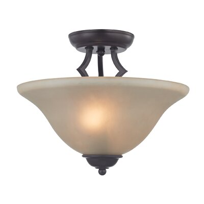 Kingston 2-Light Semi Flush Mount Finish/Glass Color: Oil Rubbed Bronze/Cafe Tint