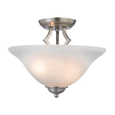 Kingston 2-Light Semi Flush Mount Finish/Glass Color: Brushed Nickel/White