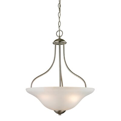 Follett 3-Light Mini Pendant Finish/Glass Finish: Brushed Nickle/White