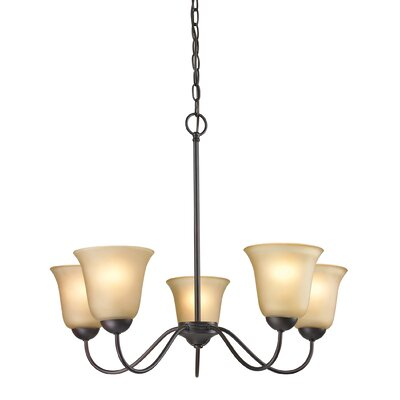 Conway 5-Light Shaded Chandelier Finish/Glass Color: Oil Rubbed Bronze/Light Amber