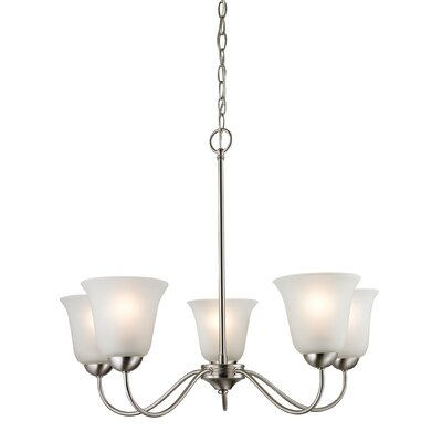 Follett 5-Light Shaded Chandelier Finish/Glass Finish: Brushed Nickel/White