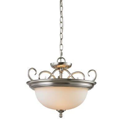 Pearlie 2-Light Bowl Pendant Color/Glass Color: Brushed Nickle/White