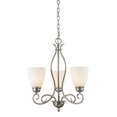 Pearlie 3-Light Shaded Chandelier Color/Glass Color: Brushed Nickel/White