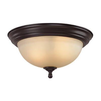 Thornburg 3-Light Flush Mount Finish/Glass Finish/Size: Oil Rubbed Bronze/Light Amber/14 H x 13 W