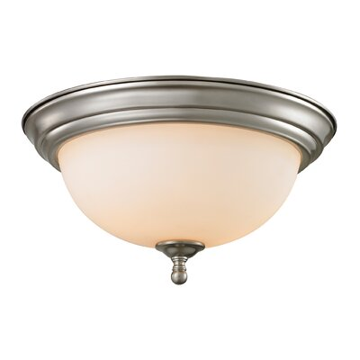 Thornburg 3-Light Flush Mount Finish/Glass Finish/Size: Brushed Nickel/White/6 H x 13 W