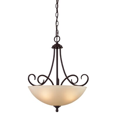 Pearlie 3-Light Bowl Pendant Color/Glass Color: Oil Rubbed Bronze/Light Amber