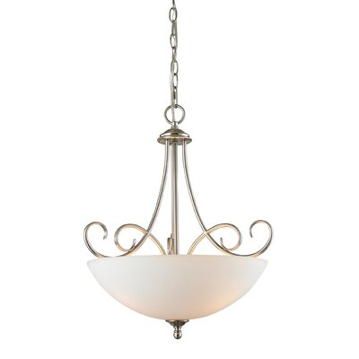Chatham 3-Light Bowl Pendant Finish/Glass Color: Brushed Nickle/White