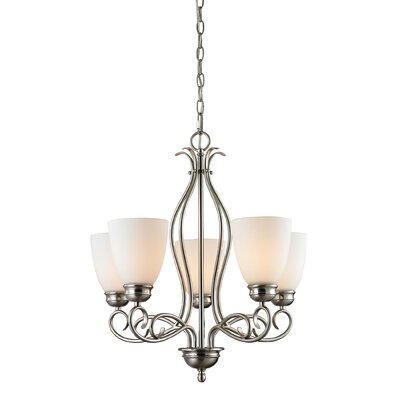 Chatham 5-Light Shaded Chandelier Finish/Glass Color: Brushed Nickel/White