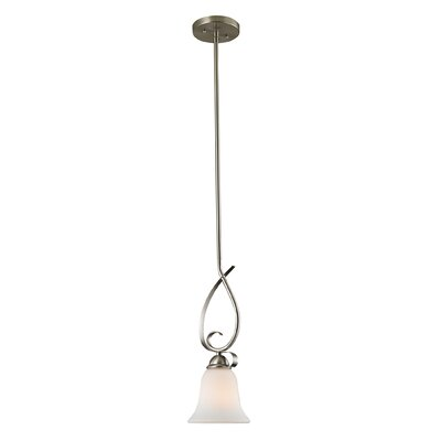 Brighton 1-Light Mini Pendant Finish/Glass Color: Brushed Nickle/White