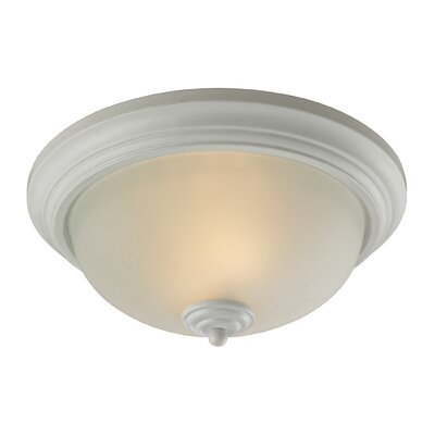 Huntington 3-Light Flush Mount Finish/Glass Color: White/Etched Glass