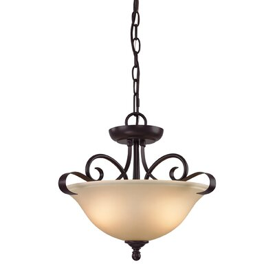 Malinda 2-Light Bowl Pendant Color/Glass Color: Oil Rubbed Bronze/Light Amber