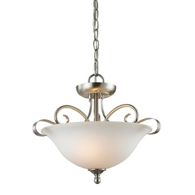 Malinda 2-Light Bowl Pendant Color/Glass Color: Brushed Nickle/White