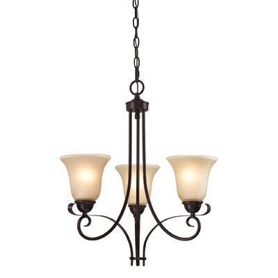 Brighton 3-Light Shaded Chandelier Finish/Glass Color: Oil Rubbed Bronze/Light Amber