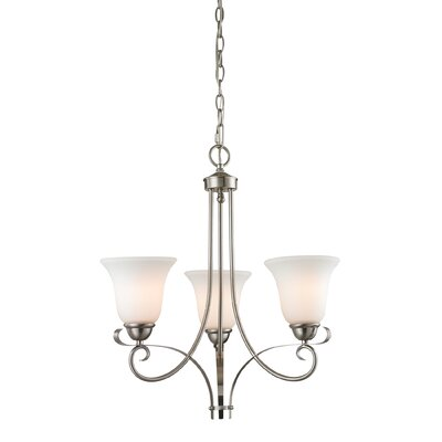 Malinda 3-Light Shaded Chandelier Color/Glass Color: Brushed Nickel/White