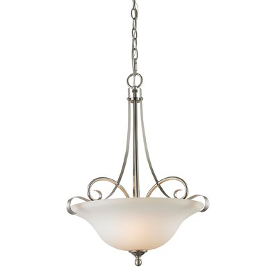 Malinda 2-Light Bowl Pendant Finish/Glass Color: Brushed Nickle/White