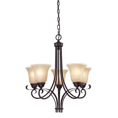 Malinda 5-Light Shaded Chandelier Finish/Glass Color: Oil Rubbed Bronze/Light Amber