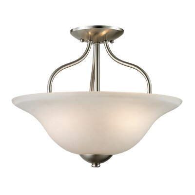Follett 2-Light Semi Flush Mount Finish/Glass Color: Brushed Nickel/White