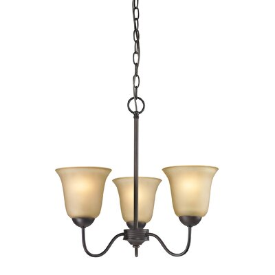 Conway 3-Light Shaded Chandelier Finish/Glass Color: Oil Rubbed Bronze/Light Amber