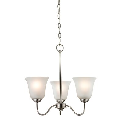 Conway 3-Light Shaded Chandelier Finish/Glass Color: Brushed Nickel/White