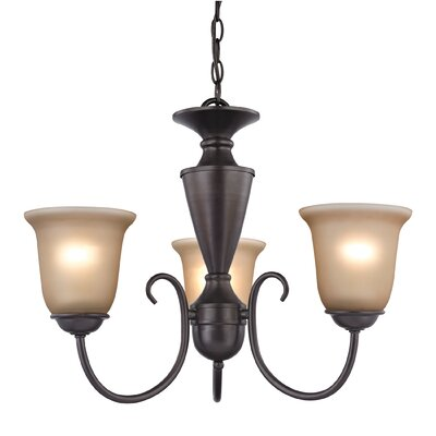 Greenville 3-Light Shaded Chandelier Finish/Glass Color: Oil Rubbed Bronze/Cafe Tint