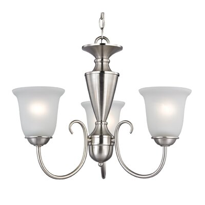 Undercliff 3-Light Shaded Chandelier Finish/Glass Color: Brushed Nickel/White