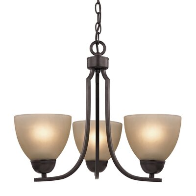 Kingston 3-Light Shaded Chandelier Finish/Glass Finish: Oil Rubbed Bronze/Cafe Tint