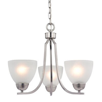 Kingston 3-Light Shaded Chandelier Finish/Glass Color: Brushed Nickel/White