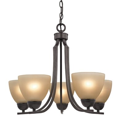 Kingston 5-Light Shaded Chandelier Finish/Glass Color: Oil Rubbed Bronze/Cafe Tint
