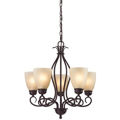 Pearlie 5-Light Shaded Chandelier Color/Glass Color: Oil Rubbed Bronze/Light Amber