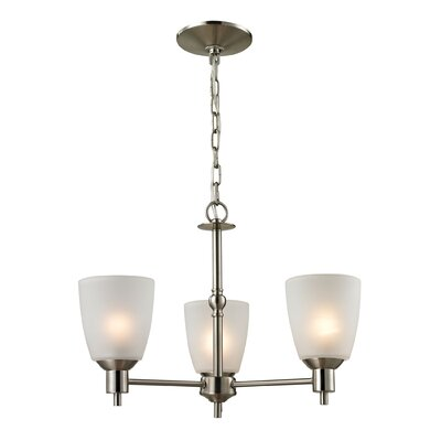 Freda 3-Light Shaded Chandelier Finish/Glass Color: Brushed Nickel/White